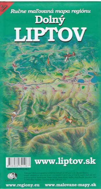 Dolný Liptov - ručne maľovaná mapa