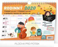 Týždenný rodinný plánovací kalendár s háčikom CZ/SK 2020, 30 x 21 cm