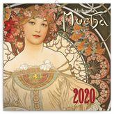 Nástenný mini poznámkový kalendár Alfons Mucha 2020, 18 x 18 cm
