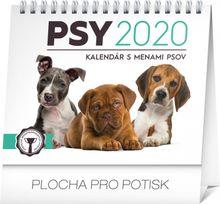 Mini-Stolový kalendár Psy – s menami psov SK 2020, 16,5 x 13 cm